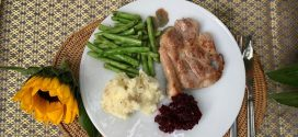 [Non-Halal Post] Healthy Eating at Camp – Recipe Share for Pan Fried Pork Chop Served With Spicy Beetroot Chutney, Butter-Fried French Beans and Mashed Potatoes